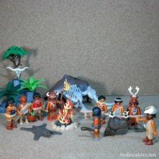 Playmobil: PLAYMOBIL LOTE DE CAVERNICOLAS CON ACCESORIOS Y MAMUT PIEDRAS - CUSTOM, TROGLODITA EDAD DE PIEDRA. Lote 167187500