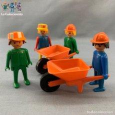 Playmobil: PLAYMOBIL - OBREROS CONSTRUCCIÓN + CARRETILLAS - PRIMERA ÉPOCA. Lote 176542650