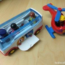 Playmobil: PLAYMOBIL 1 2 3 HELICÓPTERO BOMBERO 123 AUTOBÚS. Lote 177078410