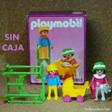 Playmobil: PLAYMOBIL NIÑOS CON ZANCOS Y COCHECITO REF. 5403 COMPLETO (SIN CAJA), VICTORIANO SERIE ROSA 5300. Lote 210598378