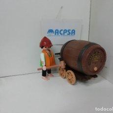 Playmobil: PLAYMOBIL CERVECERO CON BARRIL Y CARRO PARA LLEVARLO. Lote 182477041