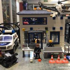 Playmobil: PLAYMOBIL ESTACIÓN DE POLICÍA, COCHE DE POLICÍA, HELICÓPTERO Y MOTO SET 9372. Lote 183362963