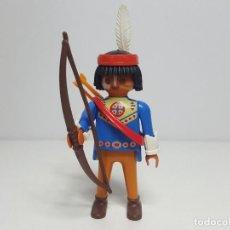 Playmobil: DIFICIL INDIO PLAYMOBIL 4541 ESPECIAL CAZADOR OESTE WESTERN ARQUERO WOLF HUNTER. Lote 184430275