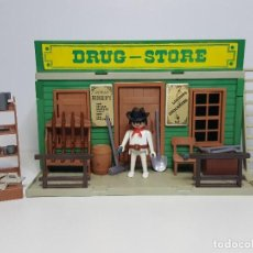 Playmobil: ANTIGUO DRUGSTORE PLAYMOBIL 3424 OESTE WESTERN TIENDA SUMINISTRO CASA DRUG STORE. Lote 184695317