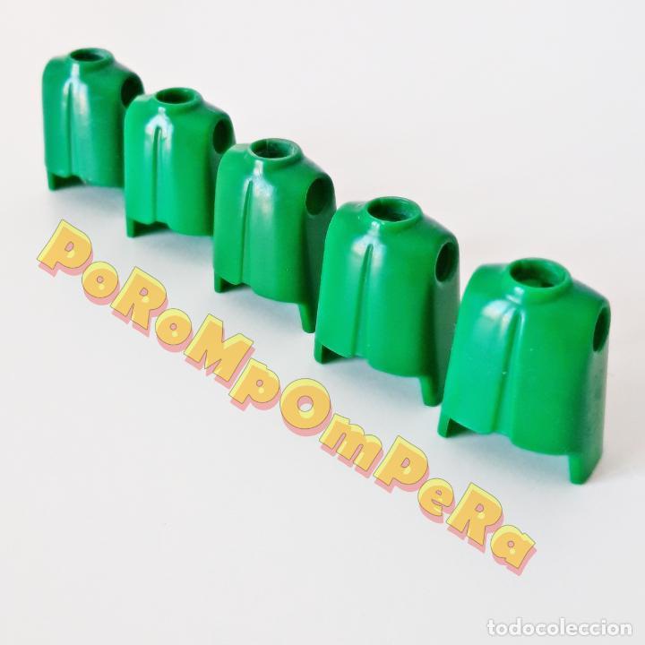 PLAYMOBIL LOTE X5 TORSO CLÁSICO VERDE PRIMERA ÉPOCA IDEAL CUSTOM MONTAJE RECAMBIO CUERPO REPUESTO (Juguetes - Playmobil)