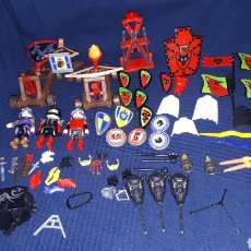 Playmobil: GRAN LOTE PLAYMOBIL MEDIEVAL CATAPULTAS FIGURAS ARMAS Y MAS. Lote 190105522