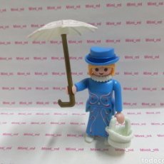 Playmobil: PLAYMOBIL FIGURA MUJER CASA VICTORIANA DAMA SERIE ROSA PARAGUAS CESTO BLANCO SOMBRERO LAZO CINTA. Lote 194226465
