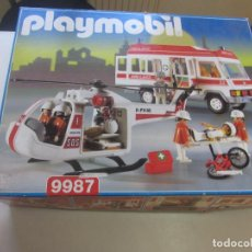 Playmobil: PLAYMOBIL REF 9987 AMBULANCIA Y HELICOPTERO DE RESCATE MUY COMPLETO. Lote 194311600