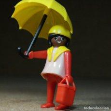 Playmobil: PLAYMOBIL MUJER NEGRITA CON PARAGUAS, FIGURA MANOS-FIJAS PRIMERA ÉPOCA KLICKY. Lote 194906760