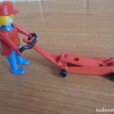 Playmobil: PLAYMOBIL: FIGURA GEOBRA DEL AÑO 1974 CON ACCESORIO GATO HIDRAULICO O SIMILAR. Lote 194949313