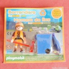 Playmobil: BARRENDERO CON ESCOBA Y CUBO EN SU BLISTER - BASURERO - CIUDAD PLAYMOBIL . Lote 195189248