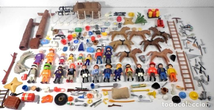 GRAN LOTE PLAYMOBIL +200 PIEZAS - FIGURAS, ACCESORIOS, CABALLOS, ARMAS, HERRAMIENTAS, CARRETA (Juguetes - Playmobil)