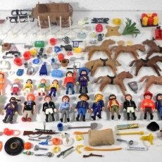 Playmobil: GRAN LOTE PLAYMOBIL +200 PIEZAS - FIGURAS, ACCESORIOS, CABALLOS, ARMAS, HERRAMIENTAS, CARRETA. Lote 195364361