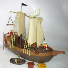 Playmobil: EL DIFICILÍSIMO PRIMER BARCO GALEON PIRATA PLAYMOBIL FAMOBIL VELAS BLANCAS SIN MARCAJE. Lote 195438566
