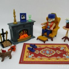 Playmobil: PLAYMOBIL APRECIADO LOTE CHIMENEA CON LUZ ALFOMBRA SALON 5300 5315 CASA VICTORIANA VARIOS PIEZAS. Lote 213722708
