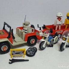 Playmobil: JEEP REMOLQUE PLAYMOBIL 3478 MOTO MOTOCICLETA CARRETERA PILOTO CARRERA. Lote 199091550