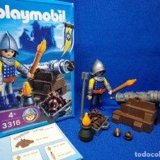 Playmobil: PLAYMOBIL ARTILLERO MEDIEVAL CON CAÑON REF 3316. Lote 199555180
