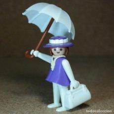 Playmobil: PLAYMOBIL DAMA VIOLETA CON PARAGUAS BLANCO, MUJER OESTE WESTERN DILIGENCIA KLICKY PRIMERA ÉPOCA. Lote 206189843