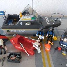 Playmobil: LOTE POLICÍA PLAYMOBIL 4429 LANCHA BARCO ZODIAC HELICÓPTERO LADRÓN MOTO DE AGUA. Lote 208049891
