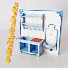 Playmobil: PLAYMOBIL PARED COCINA VICTORIANA 5322 FREGADERO MANSIÓN SERIE ROSA 1989. Lote 208058193