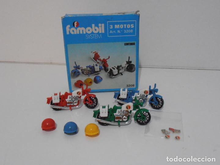 TRES MOTOS, FAMOBIL, REF 3208, CAJA ORIGINAL, COMPLETO (Juguetes - Playmobil)