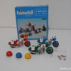 Playmobil: TRES MOTOS, FAMOBIL, REF 3208, CAJA ORIGINAL, COMPLETO. Lote 215710922