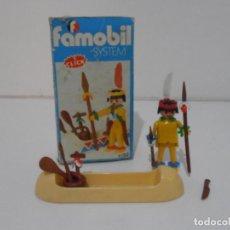 Playmobil: INDIO CON CANOA, FAMOBIL, REF 3352, CAJA ORIGINAL, COMPLETO. Lote 215748971