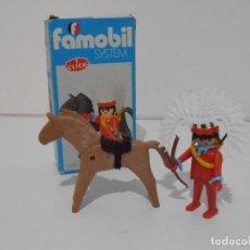 Playmobil: INDIO CON CABALLO, FAMOBIL, REF 3351, CAJA ORIGINAL, COMPLETO. Lote 215749662
