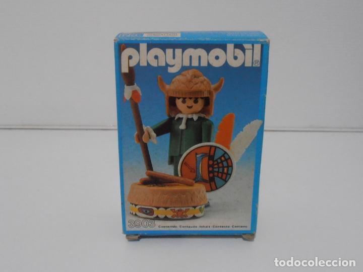 Playmobil: INDIO CON TAMBOR, PLAYMOBIL, REF 3903, CAJA ORIGINAL, CASI COMPLETO - Foto 2 - 215750457