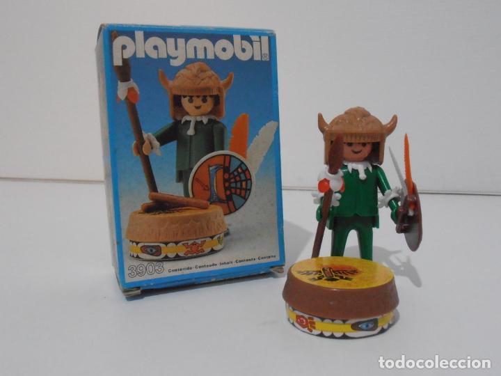 INDIO CON TAMBOR, PLAYMOBIL, REF 3903, CAJA ORIGINAL, CASI COMPLETO (Juguetes - Playmobil)