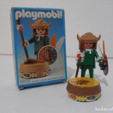 Playmobil: INDIO CON TAMBOR, PLAYMOBIL, REF 3903, CAJA ORIGINAL, CASI COMPLETO. Lote 215750457