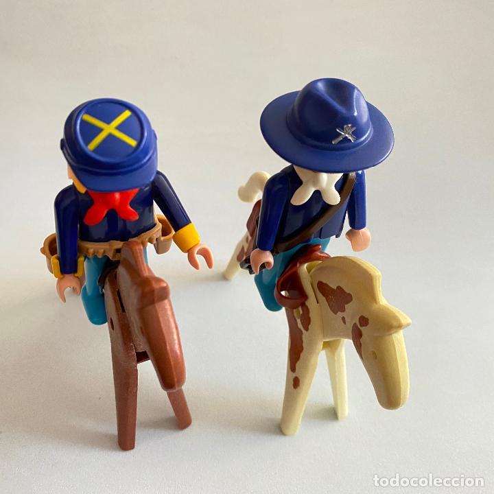 Playmobil: Playmobil Figuras muñecos Soldados de la unión nordistas sudista septimo oeste caballos Geobra 1974 - Foto 2 - 222325086
