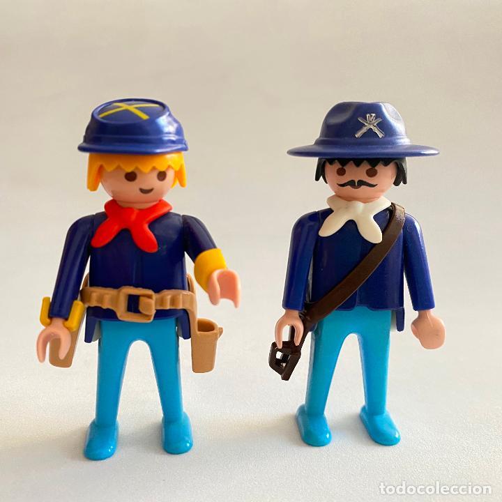 Playmobil: Playmobil Figuras muñecos Soldados de la unión nordistas sudista septimo oeste caballos Geobra 1974 - Foto 3 - 222325086