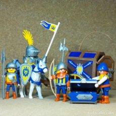 Playmobil: PLAYMOBIL CARRETA CON BAÚL Y CABALLEROS, MEDIEVAL CASTILLO ORDEN DEL LEÓN CARRO TESORO. Lote 222513150
