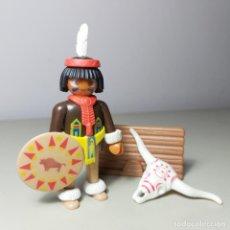 Playmobil: PLAYMOBIL INDIO GEOBRA 1974 ESCUDO PLUMA VALLA ESQUELETO CABEZA VACA. Lote 233323450