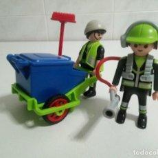 Playmobil: PLAYMOBIL SERVICIO DE LIMPIEZA Nº 1580 CARRO DE BASURA ,Y 2 BARRENDEROS Y COMPLEMENTOS. Lote 242218775