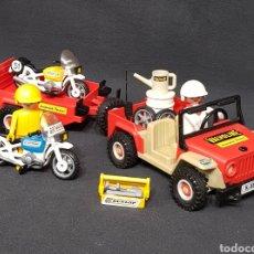 Playmobil: JEEP CON REMOLQUE Y MOTOS VINTAGE DE PLAYMOBIL 3478. Lote 245084860