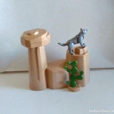 Playmobil: ROCA PLAYMOBIL DIORAMA CACTUS LOBO INDIOS OESTE WESTERN. Lote 290785193