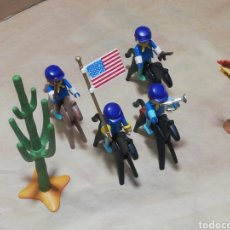 Playmobil: 4 NORDISTA 4 CABALLOS CON MONTURA CAPTUS CARTEL SILVER RANCH MINA DE ORO ARMAS BANDERA TROMPETA.. Lote 248790615