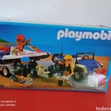 Playmobil: JEEP CON REMOLQUE LANCHA FUERA BORDA REF.3198 PLAYMOBIL 1990.EN CAJA SIN ABRIR.. Lote 255430580