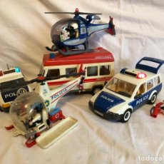 Playmobil: LOTE CLIC CLICK PLAYMOBIL, FAMOBIL, AMBULANCIA, COCHES POLICÍA, HELICOPTEROS,. Lote 266374648