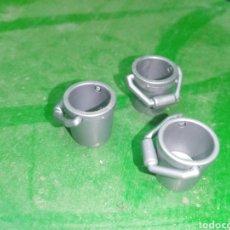 Playmobil: CUBO PLAYMOBIL GRIS PEQUEÑO ARTILLERÍA WESTERN LOTE. Lote 282593518