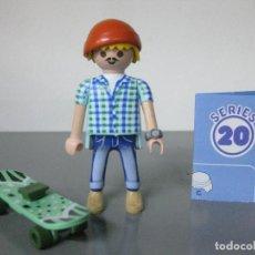 Playmobil: PLAYMOBIL SKATER MONOPATIN SERIE 20 AZUL SOBRE SORPRESA NUEVO. Lote 283031728