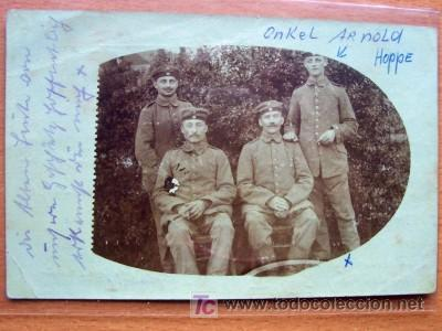 POSTAL FOTOGRAFICA DE GRUPO MILITAR MANUSCRITA Y CIRCULADA (Postales - Postales Temáticas - I Guerra Mundial)