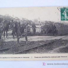 Postales: POSTAL FRANCESA I GUERRA MUNDIAL: DRAGON GARDANT LA VOIE FERRÉE PRÉS DE NANTEUIL (CIRCULADA 1914). Lote 27548855