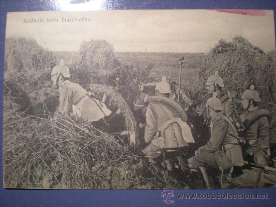 POSTAL ARTILLERIA 1 ª GUERRA MUNDIAL ESCRITA Y SELLO AÑO 1915 (Postales - Postales Temáticas - I Guerra Mundial)