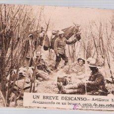 Postales: UN BREVE DESCANSO. - ARTILLEROS BRITÁNICOS DESCANSANDO EN UN BOSQUE,CERCA DE SUS CAÑONES.. Lote 17967885