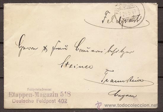 ALEMANIA,SERVICIO POSTAL DEL EJÉRCITO,SOBRE CIRCULADO 21/05/1917. (Postales - Postales Temáticas - I Guerra Mundial)