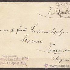Postales: ALEMANIA,SERVICIO POSTAL DEL EJÉRCITO,SOBRE CIRCULADO 21/05/1917.. Lote 15996322