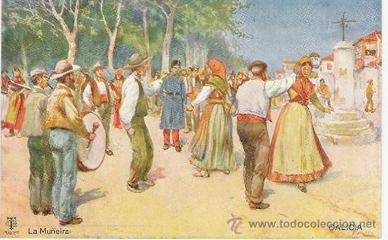 ANTIGUA POSTAL. GALICIA - LA MUÑEIRA. BAILES RGIONALES, SIN CIRCULAR. (Postales - Postales Temáticas - I Guerra Mundial)